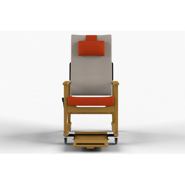 NEXUS - High-backed chair w/wheels, neck rest, stepless adjustment, handle, foot plate