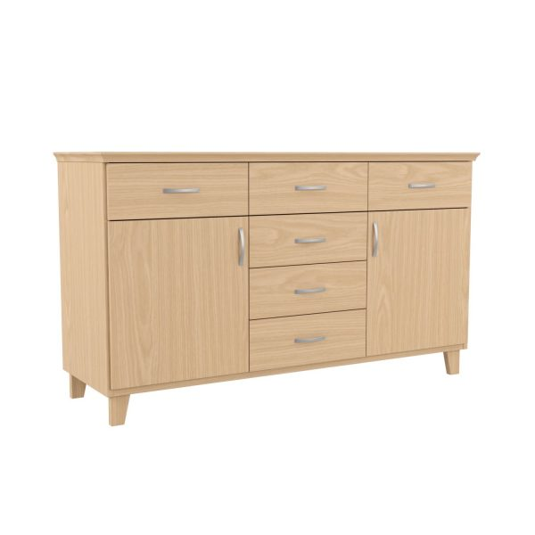 SELMA - Sideboard, 84x145x46 cm, with 6 drawers and 2 doors, birch