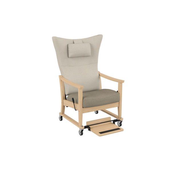 SALINA - Trillestol høy m/trinnløs regulering, åpen vange, håndtak, fotbrett