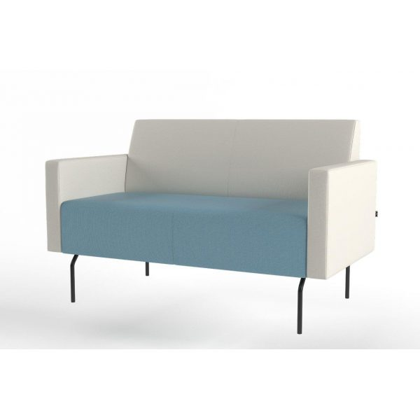 Pivot 2-seater with low armrest and tube legs