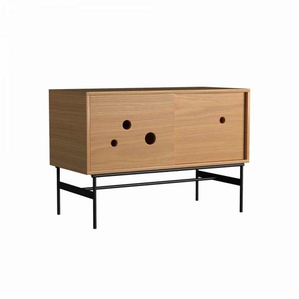 DAPPLE - Cabinet medium 75x110x51, with 2 sliding doors, oak melamine