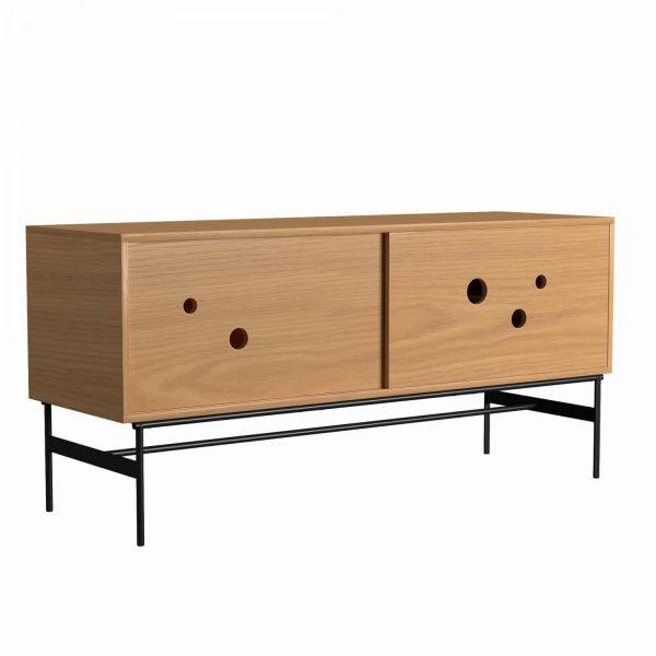 DAPPLE - Cabinet large 75x160x51, with 2 sliding doors, oak melamine