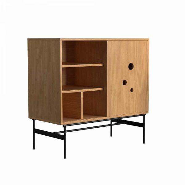 DAPPLE - Cabinet medium 105x110x51, with 1 sliding door, oak melamine