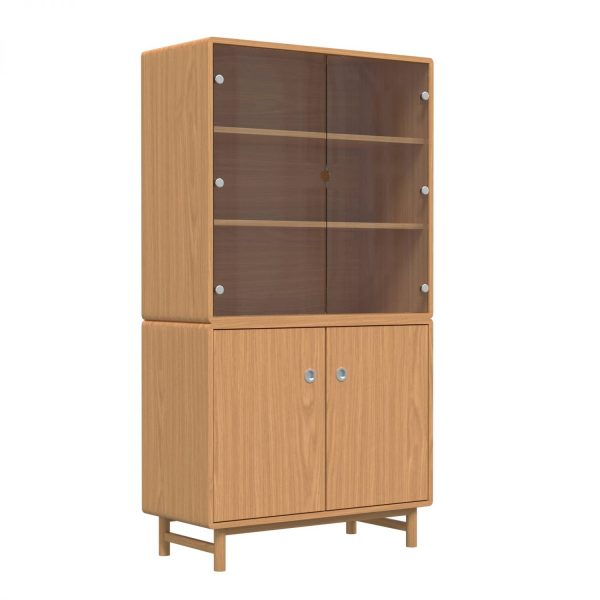 SOFT - Buffet, 180x98x45, two doors bottom and two glas doors top, oak