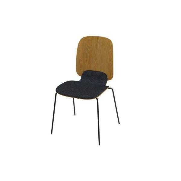 ADA - Stablebar skallstol, høy rygg, fire stålben, pulverlakkert sort, eik finer, setebrikke