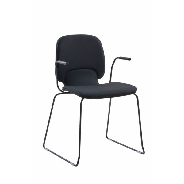 Ada stackable low chair - upholstered and steel skids with armrest.