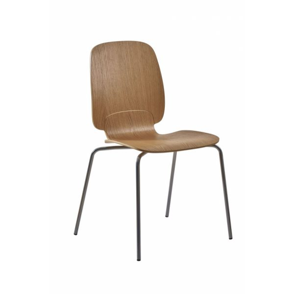 Ada stablestol høy rygg - skall i eik med fire stålben.