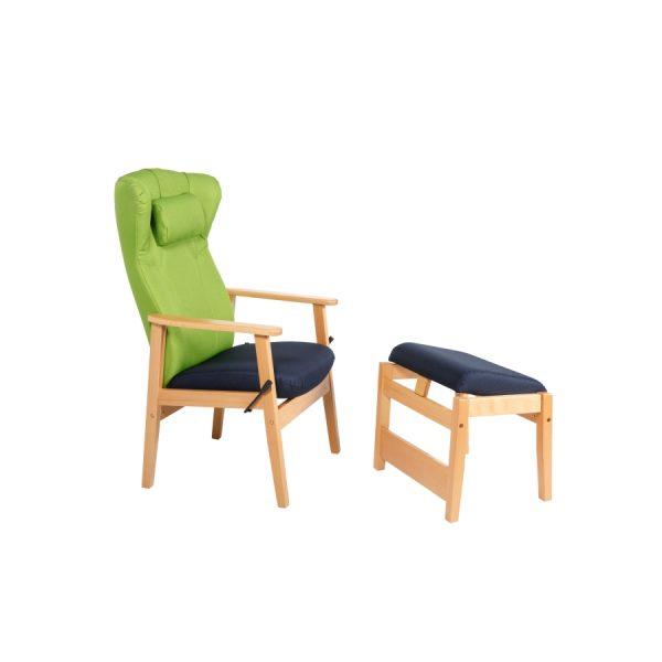 DELTA II - Høy stol med nakkepute og vipp med fotskammel
